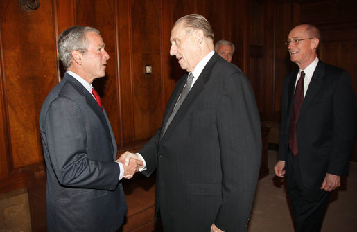 President George W. Bush greets Thomas Monson, President of the Church of Jesus Christ of Latter-day Saints at the church's headquarters Thursday, May 29, 2008, in Salt Lake City. Also pictured at right is Henry Eyring, First Counsel in the Counsel of Twelve. White House photo by Eric Draper