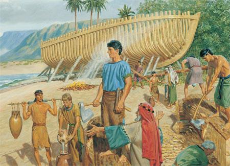 Zur Zeit des Propheten Jeremia: Nephi und seine Brüder bauen ein Schiff.